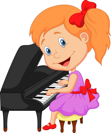 hands on keyboard: Cute little girl cartoon playing piano