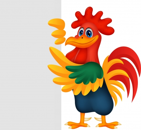 Cute rooster cartoon and blank sign  Vector