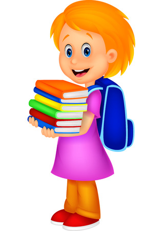 student: Cartoon girl bring pile of books