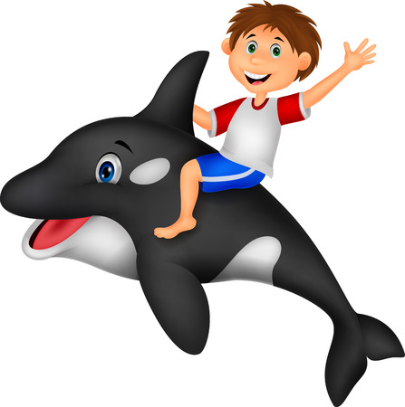dolphins: Cartoon Boy riding orca