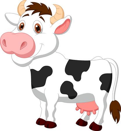 milk cow: Historieta linda vaca Vectores