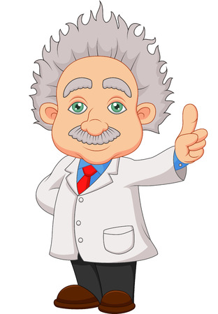 Cartoon professor thinkning  Vector