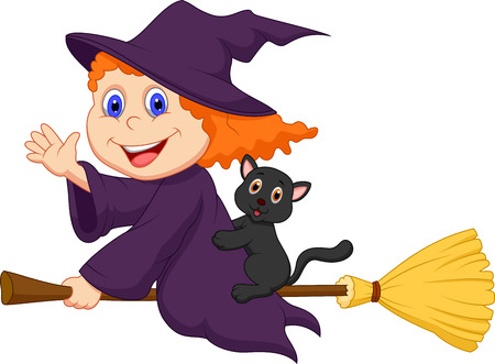 broom: Young witch cartoon flying on on her broom