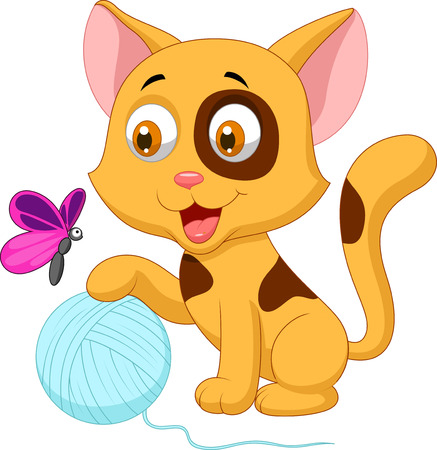 Cute cat cartoon playing with ball of yarn and butterfly Stock Vector - 22466968