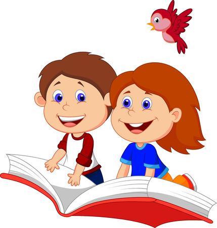 Cartoon jongen en meisje vliegen op een boek