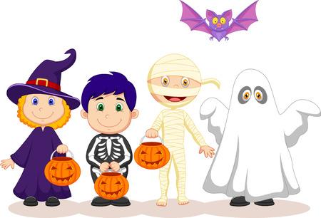 halloween skeleton: Happy Halloween party with children cartoon trick or treating
