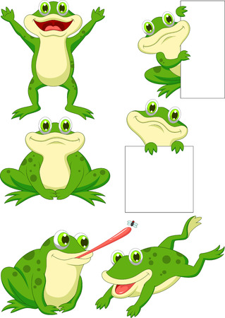 frog illustration: Cute frog cartoon collection set