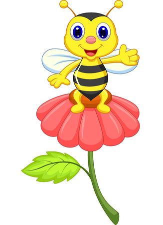 Pequeña abeja linda en la flor roja