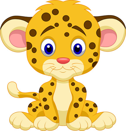 Baby leopard cartoon  Иллюстрация