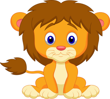 lion drawing: Baby leone cartone animato seduto