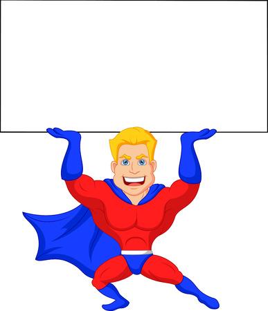 Superheld cartoon met lege bord