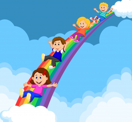Cartoon Kids Sliding Down a Rainbow  Ilustrace