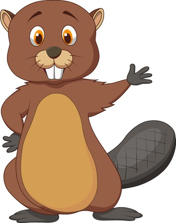 Cute beaver cartoon waving  Vector