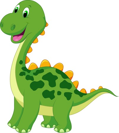 Cute green dinosaur cartoon  Ilustracja