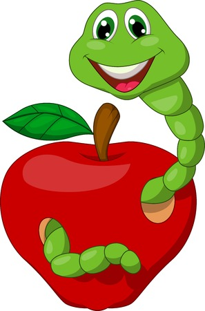 maggot: Cartoon Worm with red apple