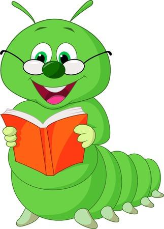 Caterpillar cartoon reading book