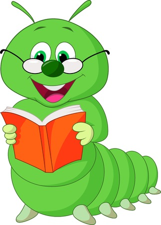 reading glass: Caterpillar cartoon reading book