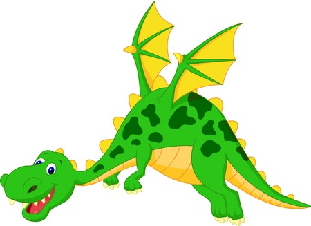 flying dragon: Happy dragon cartoon flying  Illustration