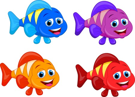 red fish: Cute fish cartoon collection set