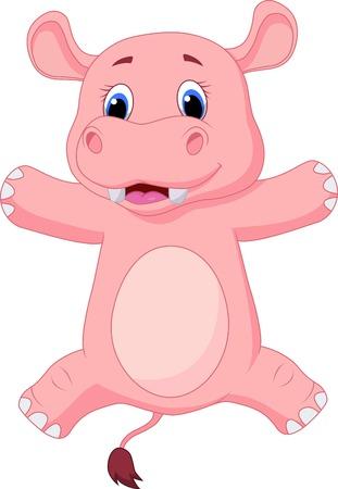 hippo cartoon: Happy baby hippo cartoon