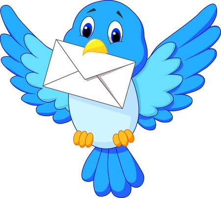 Cute bird cartoon delivering letter