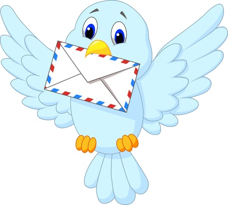 Cute bird cartoon delivering letter Vector