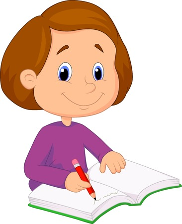 writers: Little girl cartoon writing on a book