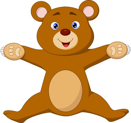 Happy brown bear cartoon jumping  Vector
