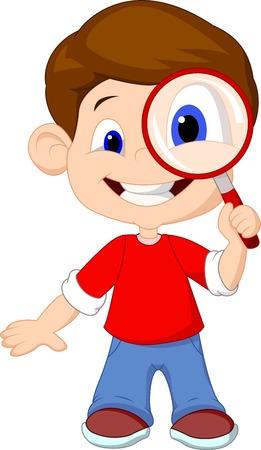 Cartoon a boy and a magnifier  Vectores