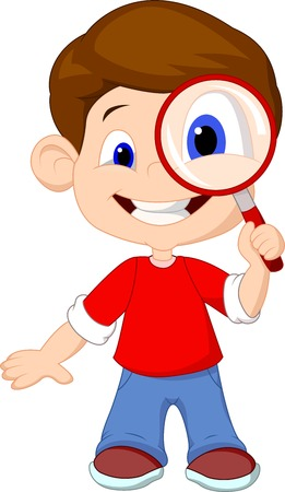 a boy: Cartoon a boy and a magnifier  Illustration