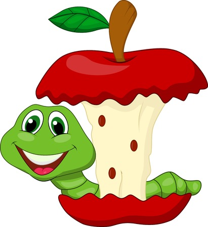 Worm eating red apple cartoon Illustration