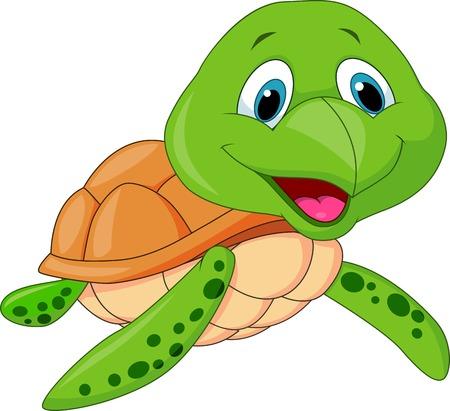 green turtle: Carino tartaruga cartone animato Vettoriali