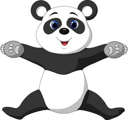 Happy panda cartoon  Vector