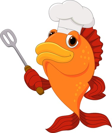 fish icon: Cute fish chef cartoon holding spatula  Illustration