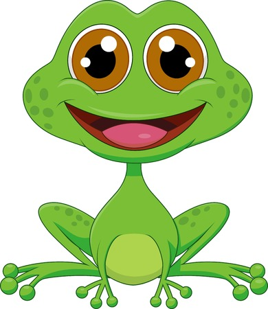 bullfrog: Cute frog cartoon  Illustration