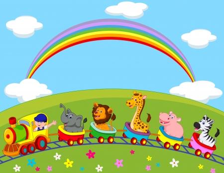 zoo animals: Animal train cartoon
