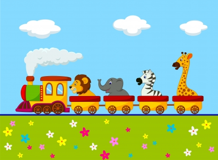 train cartoon: Cartoon Animal train  Illustration
