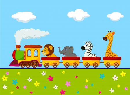 Cartoon Animal train  Illustration