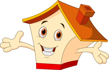 house roof: Cute house cartoon