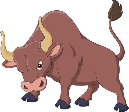 frenzied: Angry bull cartoon  Illustration