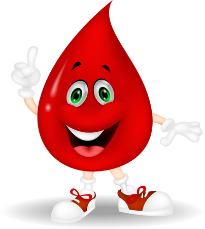 Cute red blood cartoon pointing his finger  Illustration