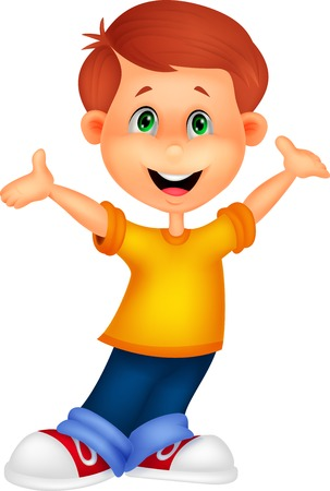 wave hello: Happy boy cartoon posing  Illustration