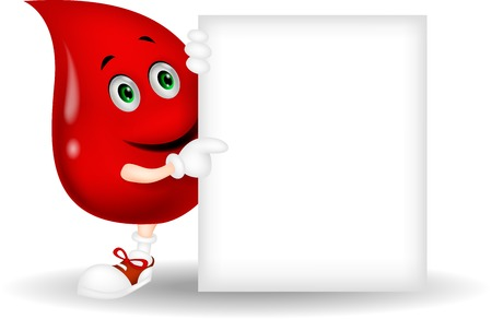 red cells: Blood cartoon character with blank sign