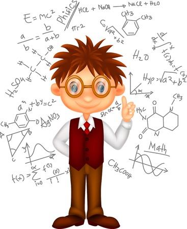 thinking student: Smart boy cartoon Illustration