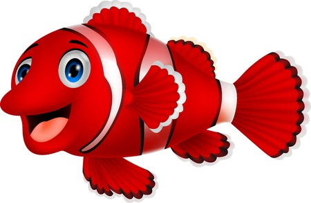 marine fish: Cute clown fish cartoon
