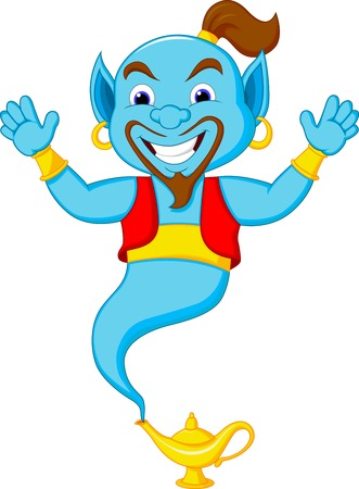 Friendly genie cartoon  Vector