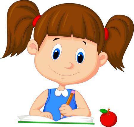 cartoon school girl: Linda chica escritura de la historieta en un libro