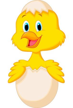 Gebarsten ei met leuke vogel cartoon binnenkant