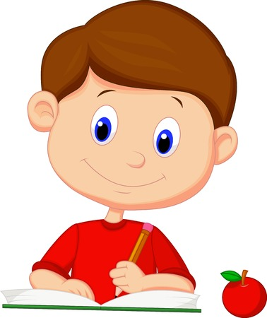 Cute cartoon boy writing on a book  Vector
