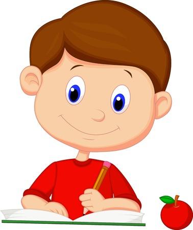 estudiar: Niño lindo escritura de la historieta en un libro Vectores
